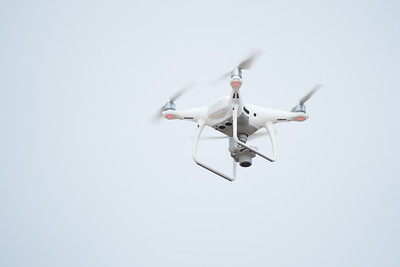 A UAV (Unmanned Air Vehicle) is used during the Conrad Blucher Institute's survey of Mustang Island following Hurricane Harvey.