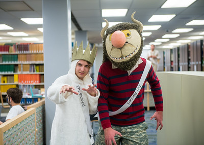Student Sean Saperstein (left) and Luke Steele in costume of Max and Wild Thing for the Open House event in the time of Banned Book Week