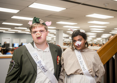 Student Russell Ingram (left) and Jazmine Ingram in costume of the Pig and the Sheep for the Open House event in the time of Banned Book Week