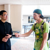 Student Lubo Zhou (left) introduce to Dillon Cox about the Mid Autumn Festival of Asia