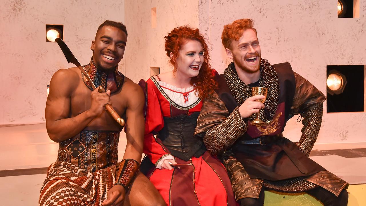 Tyren Duncan (left)- Aaron the Moor Haley  Davis- Tamora, Queen of the Goths Connor Flynn- Titus Andronicus