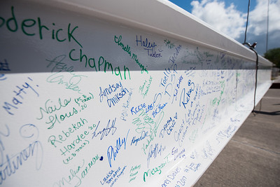 Faculty, staff, and students were encouraged to sign a steel beam that was placed at the top level of the Tidal Hall building. Tuesday November 7, 2017 during the Topping Out Ceremony at TAMU-CC.