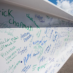 Faculty, staff, and students were encouraged to sign a steel beam that was placed at the top level of the Tidal Hall building. Tuesday November 7, 2017 during the Topping Out Ceremony at TAM ...