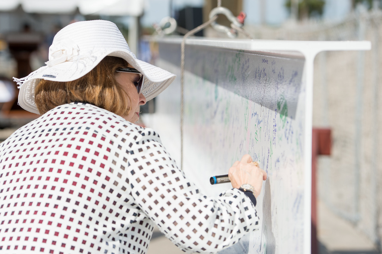 Dean of Graduate Studies, Dr. JoAnn Canales, writes her name on the steel beam later placed during the Topping Out Ceremony for Tidal Hall. Tuesday November 7, 2017 during the beam signing c ...