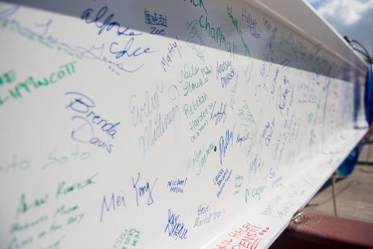 Faculty, staff, and students were encouraged to sign a steel beam that was placed at the top of the new Tidal Hall building. Tuesday November 7, 2017 during the Topping Out Ceremony at TAMU- ...