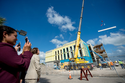 """A steel beam signed by faculty, staff, and students was raised to the top floor of the Tidal Hall building.   Click on the link to read about the """"Topping Out"""" Ceremony: http://bit.ly/2hfLRho"""