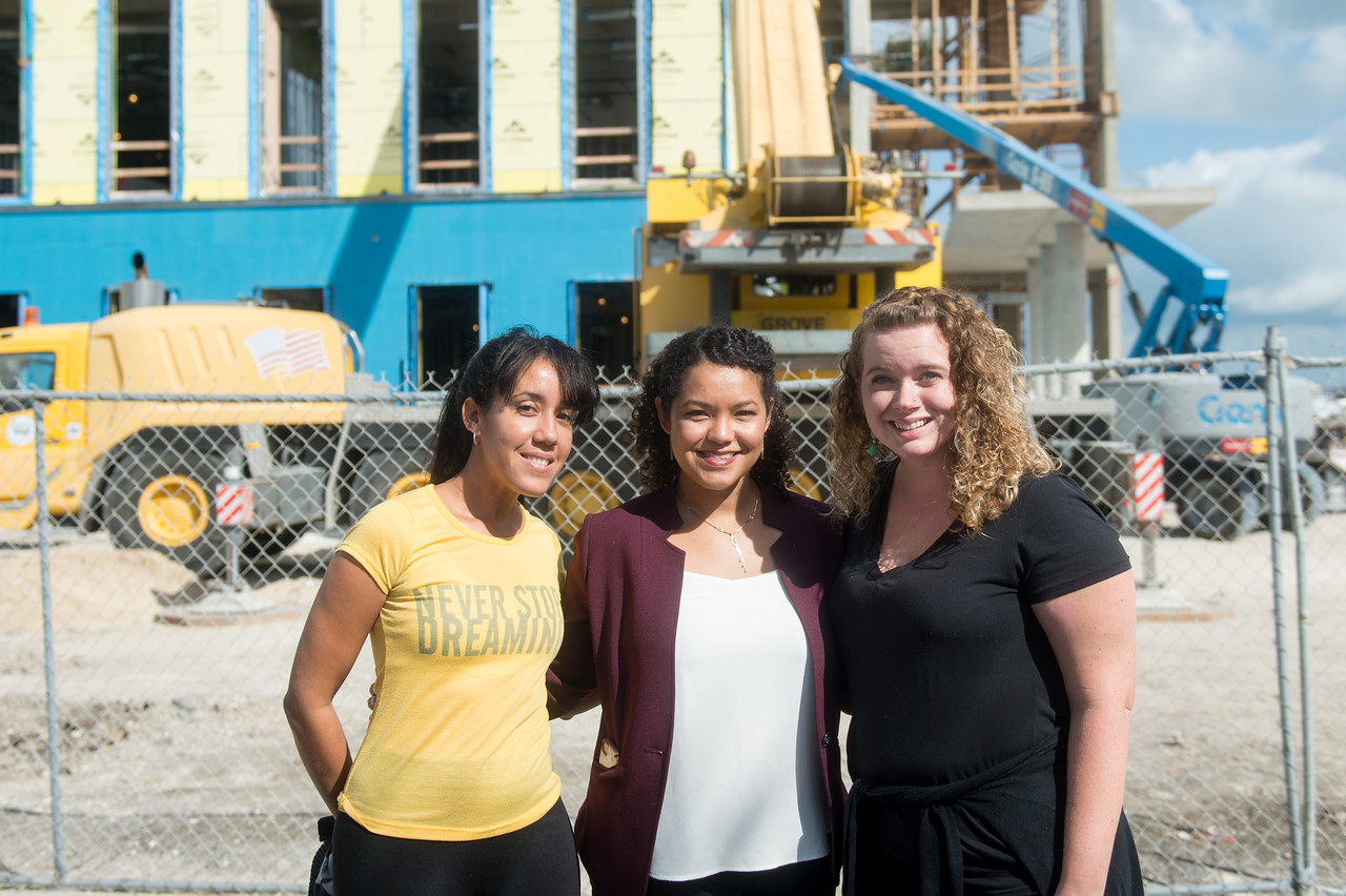 Hakna Ferro (left), Diana Del Angel, and Michelle Culver during the Topping Out Ceremony. Tuesday November 7, 2017 at TAMU-CC.