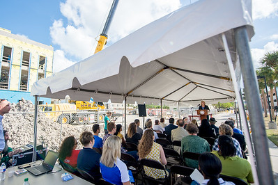 TAMU-CC President Kelly Quintanilla welcomes guests to the Topping Out Ceremony for Tidal Hall. Tuesday November 7, 2017 at TAMU-CC. for Tidal Hall.