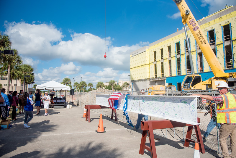 A steel beam rests outside of TAMU-CC's Tidal Hall construction site as they prepare for the Topping Out Ceremony. Tuesday November 7, 2017.