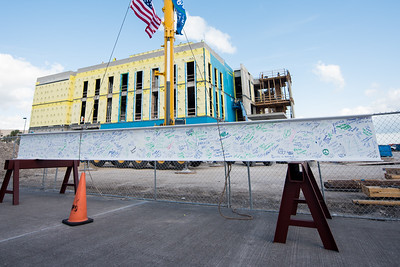 Faculty, staff, and students were encouraged to sign a steel beam that was placed at the top of the new Tidal Hall building. Tuesday November 7, 2017 during the Topping Out Ceremony at TAMU-CC.