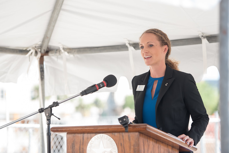 Assistant Vice President of Development Jaime Nodarse welcomes guests to the Tidal Hall Topping Out Ceremony. Tuesday November 7, 2017 at TAMU-CC.