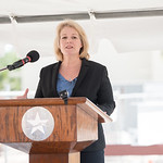 TAMU-CC President Kelly Quintanilla welcomes guests to the Topping Out Ceremony for Tidal Hall. Tuesday November 7, 2017 at TAMU-CC.