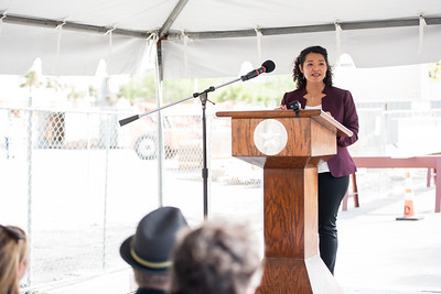 Diana Del Angel speaks to guests at the Tidal Hall Topping Out Ceremony. Tuesday November 7, 2017.