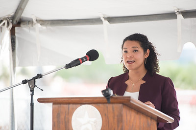 PhD student Diana Del Angel speaks to guests at the Tidal Hall Topping Out Ceremony. Tuesday November 7, 2017.