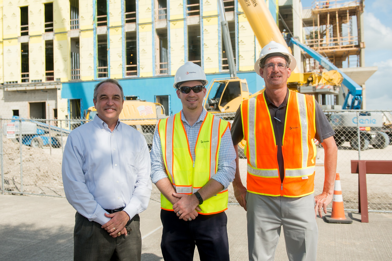 Mike Lippincott (left), Todd Niesner, and Steve Parker during the Topping Out Ceremony. Tuesday November 7, 2017 at TAMU-CC.