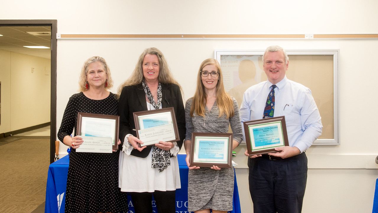 Recipients of the 4th Annual Outstanding Online Educator Award gathered for a celebration.