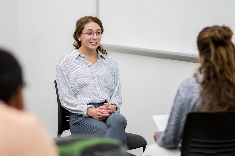 Caroline Braslav answers questions during her Communications class' mock interview.
