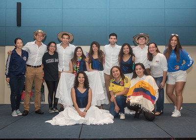 Members of the Colombian Student Association took a quick group photo before performing during the Colombian Festival held at the University Center.