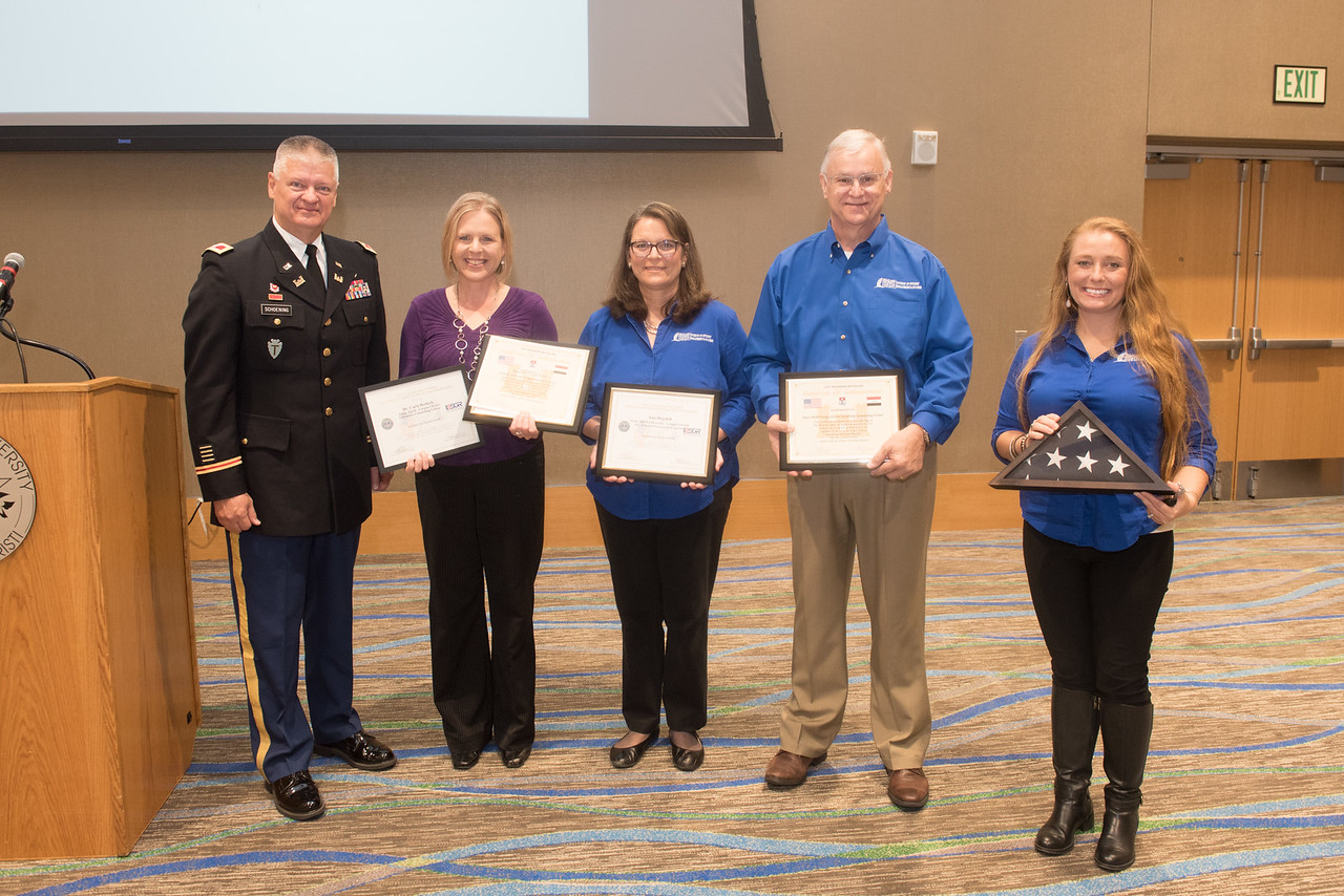 Our University Counseling Center and Student Engagement and Success at Texas A&M - Corpus Christi were both presented with the Patriot Award for their support of Dr. Sarah Skelton, U.S. Nati ...