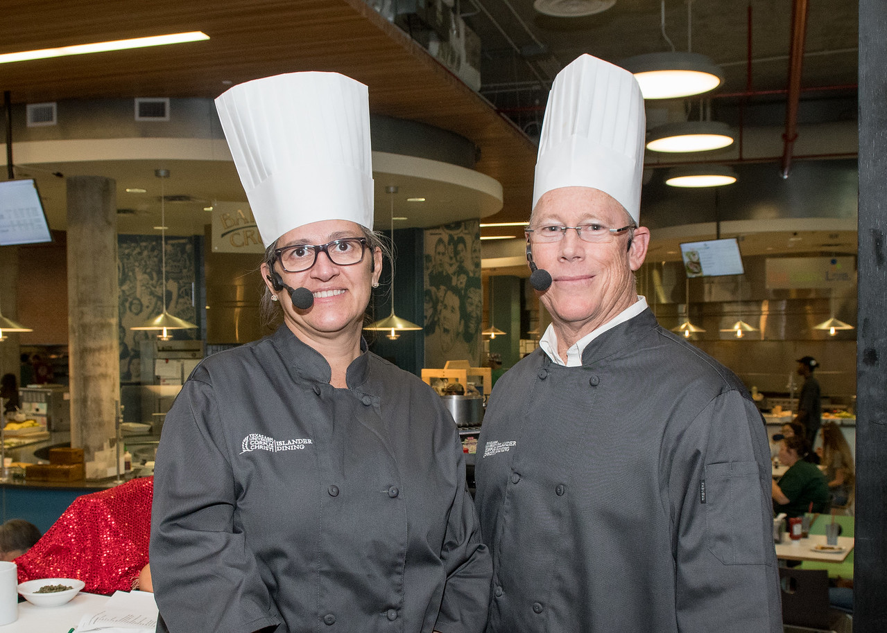 Dean of the College of Education and Human Development, Dr. David Scott, and the Dean of the College of Nursing and Health Sciences, Dr. Julie Anne Hoff, battle it out during 'Iron Chef: Dea ...