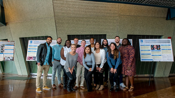 Senior Communications majors take a group photo during a Capstone Research Poster Session.
