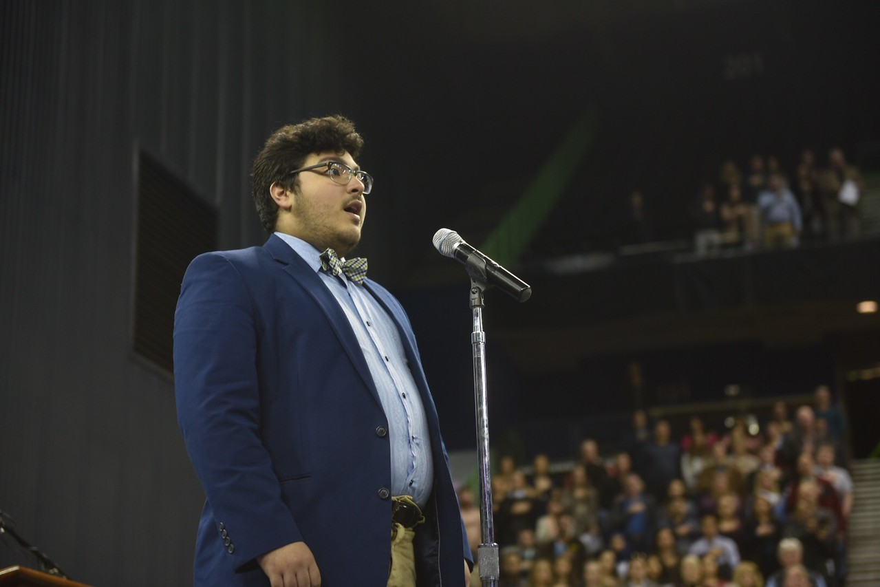 Eli Gonzalez sings the National Anthem during the TAMU-CC Fall 2017 Commencement.