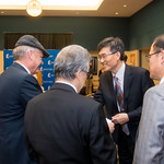 Dean of the college of science and engineering Dr. Frank Pezold (left), welcomes Mr. Heonsoo Kim, principal of Sejon Academy. Tuesday January 30, 2018 during the MOU Signing in Legacy Hall.