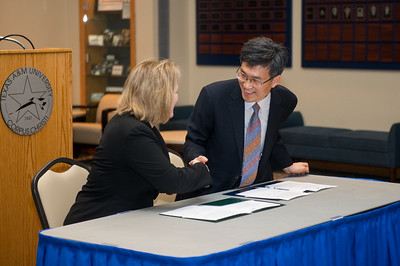 Dr. Kelly M. Quintanilla (left), president and CEO of Texas A&M University-Corpus Christi and Mr. Heonsoo Kim, Principal of Sejong Academy.