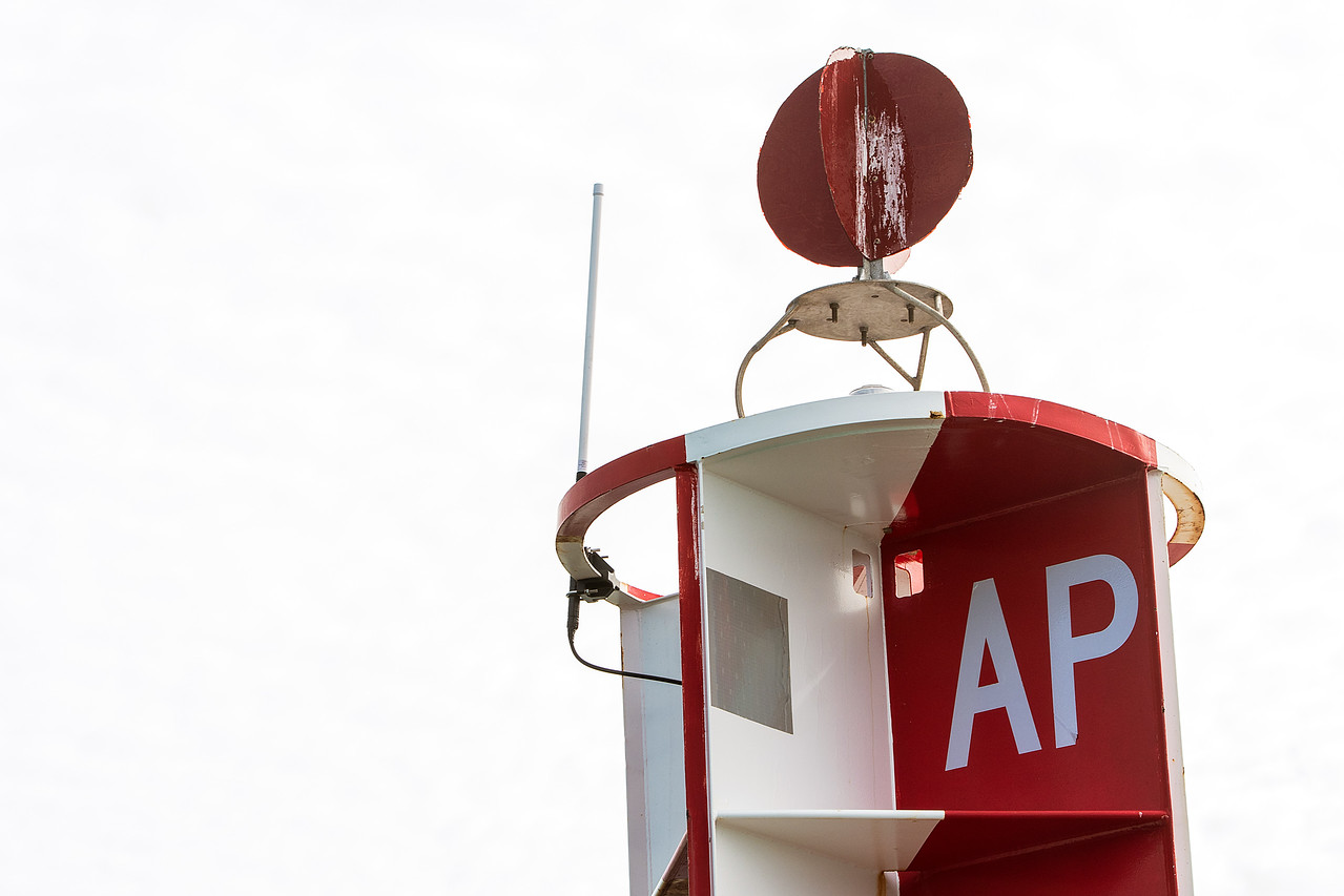 Radar attached to the top of the buoy.