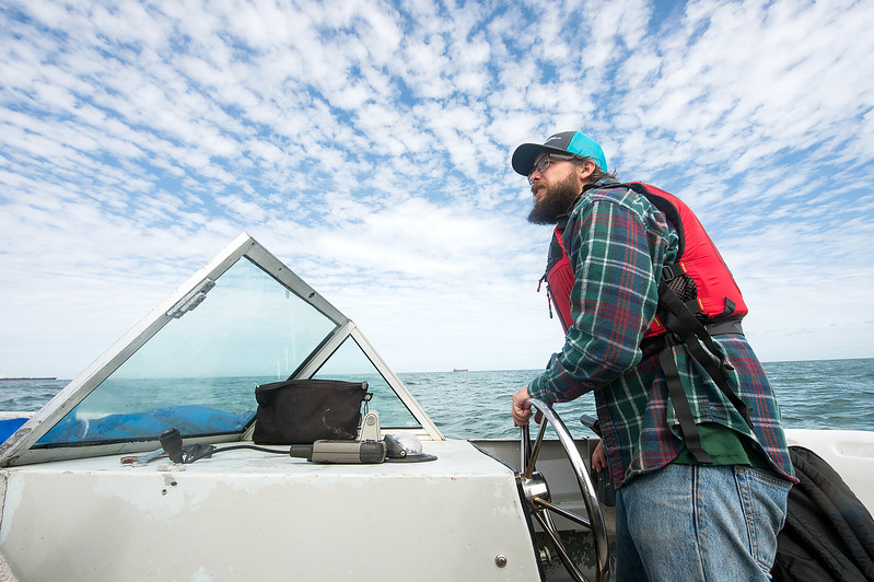 TAMU-CC Conrad Blucher Institute research engineer Hugo Mahlke during the CCPORTS installation off of the coast of Port Aransas, Tx.