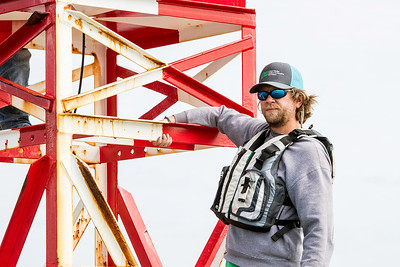 TAMU-CC Conrad Blucher Institute research engineer Alistair Lord works on a buoy during a CCPORTS module installation off of the coast of Port Aransas, Tx.