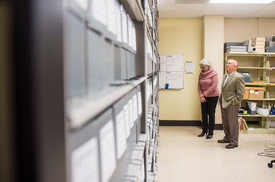 Cecilia and Jim Akers get their first look of the Dr. Hector P. Garcia archive collection as it is sorted in the special collections & archive department.