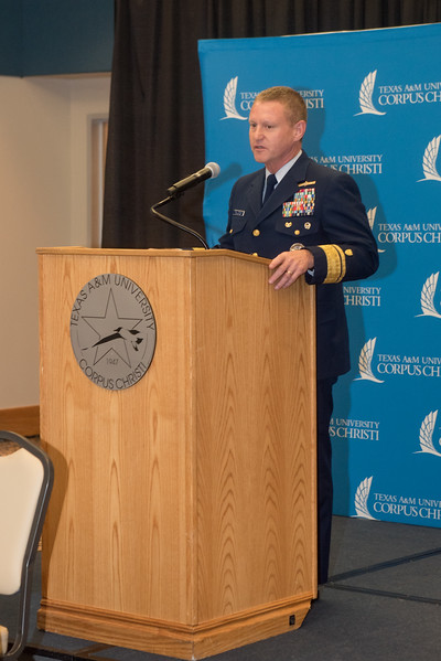 Rear Admiral Paul Thomas, Commander Coast Guard District Eight speaks at the podium during the MOA signing at Texas A&M University-Corpus Christi. Tuesday February 20, 2018 in the University Center.