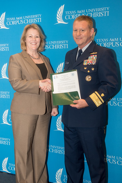 President and CEO, Dr. Kelly Quintanilla (left), and Rear Admiral Paul Thomas, Commander Coast Guard District Eight. Tuesday February 20, 2018 in the University Center.