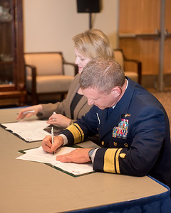 Rear Admiral Paul Thomas, Commander Coast Guard District Eight during the MOA signing at Texas A&M University-Corpus Christi. Tuesday February 20, 2018 in the University Center.