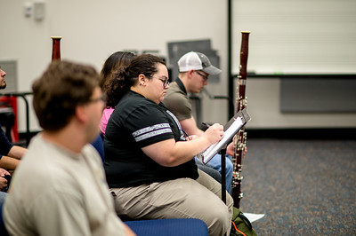 Bassoon Week guest Olivia Santos takes notes during a master class.