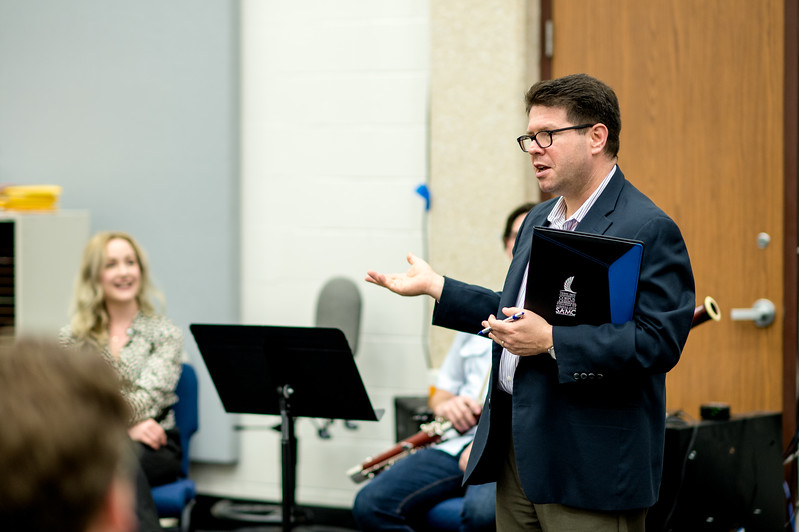 Dr. Scott Pool, Professor of Music for Bassoon, introduces Eryn Oft during the Bassoon Week's master class. Friday Feb, 23 in the Center for Arts building.