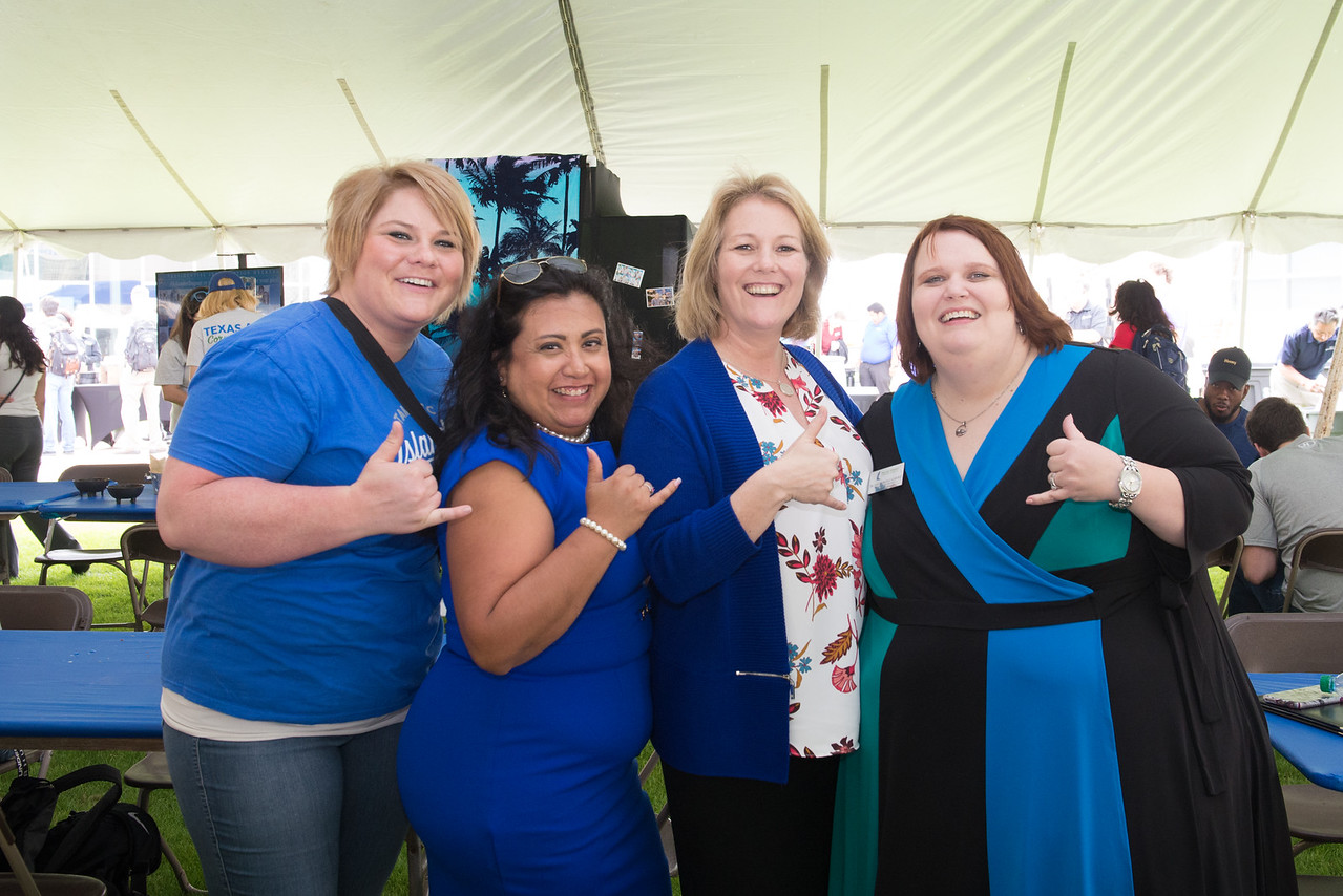 Claire Snyder (left), Leticia Flores, Kelly Quintanilla, and Amy Sanford. Pose for a photo at  the 2018 Inauguration President's Picnic. Friday March 2, 2018 at Texas A&M University-Corpus C ...