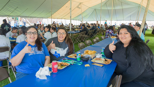 Crystal Medrano (left), Cristina Alvarez, and Luisa Salazar at the President's Picnic during Inauguration Weekend on Friday, March 2nd, 2018.