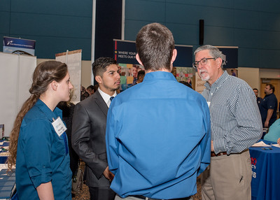 Recruiters from Johnstone Supply talk to interested students during the Career Fair on March 7th, 2018.