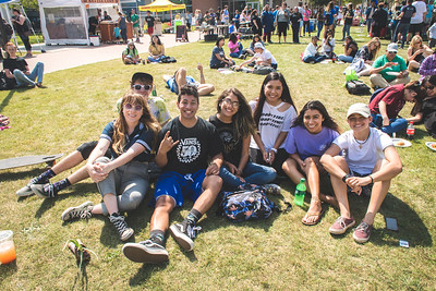 Alex Berner (left), Olivia Whitehurst, Paul Perez, Joie Harvell, Yohali Grey, and Olivia Williamson attended the Islander Dining Farmer's Market, and Campus Activities Board's Music Festival held on the East Lawn.