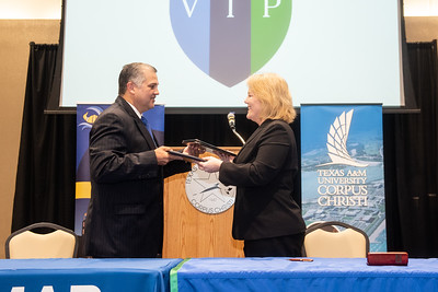 Dr. Mark Escamilla, Del Mar College president (left), and Dr. Kelly M. Quintanilla, president and CEO of Texas A&M University-Corpus Christi.