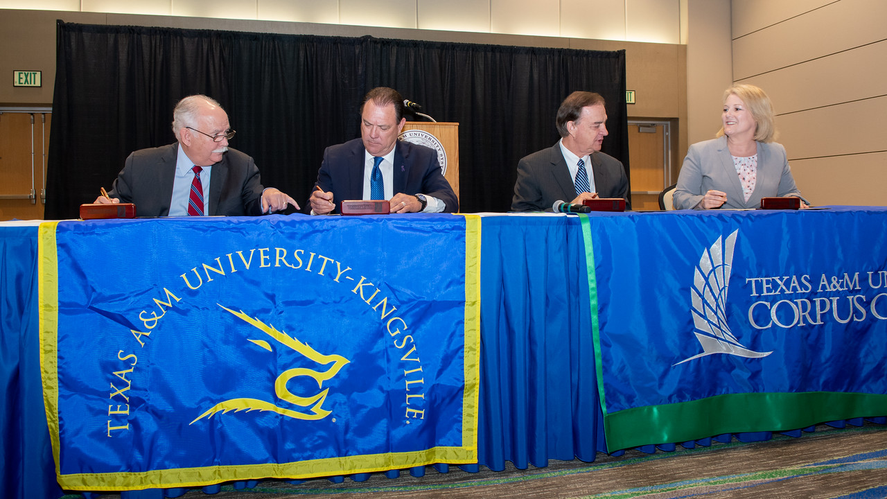 "President and CEO of Texas A&M-Kingsville Dr. Steve Tallant (left), Commissioner Henry ""Hank"" Whitman, Jr., Texas A&M University System Chancellor John Sharp, and President and CEO of Te ..."
