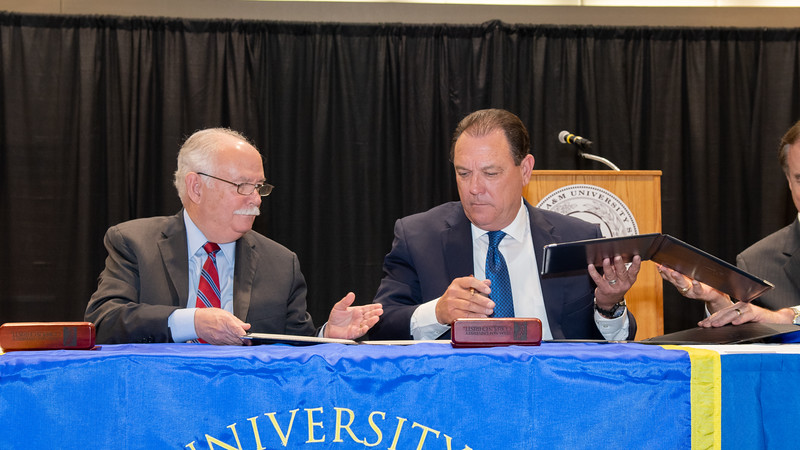 "President and CEO of Texas A&M-Kingsville Dr. Steve Tallant (left), Commissioner Henry ""Hank"" Whitman, Jr.,"