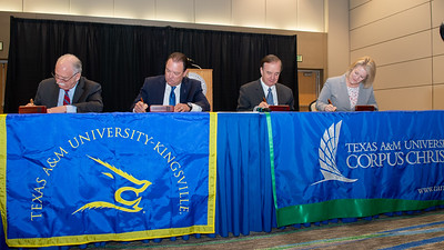 "President and CEO of Texas A&M-Kingsville Dr. Steve Tallant (left), Commissioner Henry ""Hank"" Whitman, Jr., Texas A&M University System Chancellor John Sharp, and President and CEO of Texas A&M University - Corpus Christi, Dr. Kelly Quintanilla"