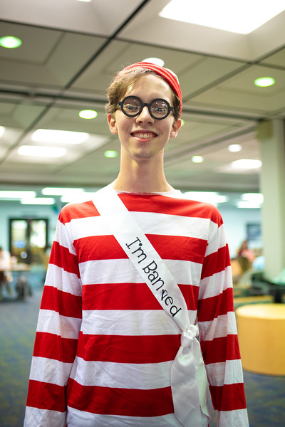 River Thompson as special charachter Waldo in honor of Banned Books Week at the Mary & Jeff Bell Library.