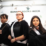 Juan Madrid (left). Aelen Bird, and Clarissa Ramos as Harry Potter, Professor McGonagall and Hermione Granger at the Mary and Jeff Bell Library for Banned Books Week.