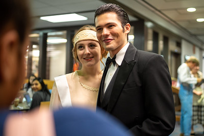 "Special charachters from ""The Great Gatsby"" in honor of Banned Books week in the Mary and Jeff Bell Library."