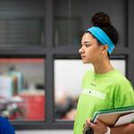 TAMU-CC Student, Maddie Woods, checks in at Kennedy Elementary
