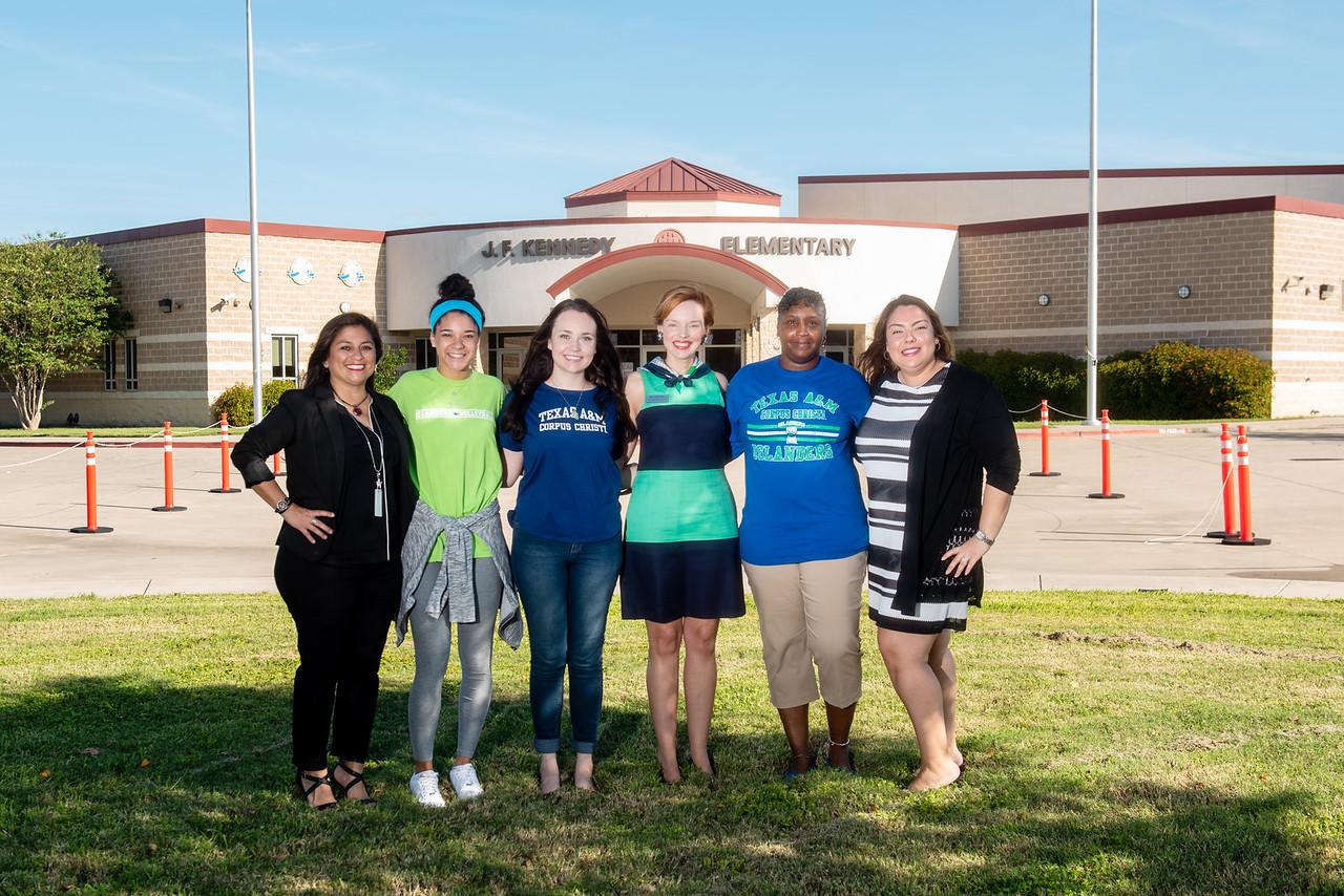 Marcy Davis, principal of Kennedy Elementary School (left), TAMU-CC student Maddie Woods, TAMU-CC student Kaela Mathis, TAMU-CC professor Dr. Bethanie Pletcher, TAMU-CC student Audrey Barnes ...